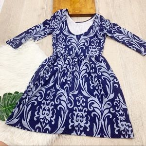 Printed Fit & Flare Blue 3/4 Sleeve Dress 3175
